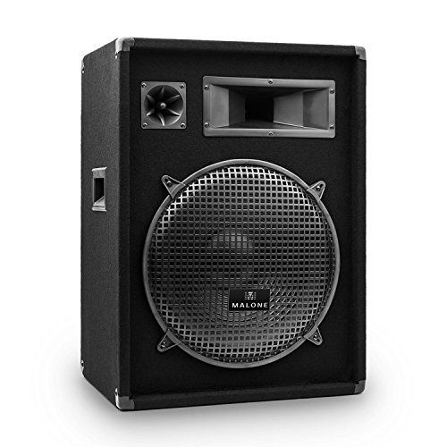 "Malone PW-1522 • passiver 3-Wege Lautsprecher • Fullrange PA Box • 800 W • 38 cm (15\"") • 400 W RMS • Piezo-Hochtöner • 30 Hz bis 18 kHz • 8 Ohm • schwarz"