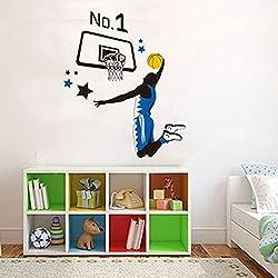Jugar al baloncesto Slam Dunk adhesivo de pared Casa adhesivo extraíble Salón pintado dormitorio cocina Lienzo PVC Murales de incienso ventana puerta decoración + 3d Frog Pegatina para coche regalo