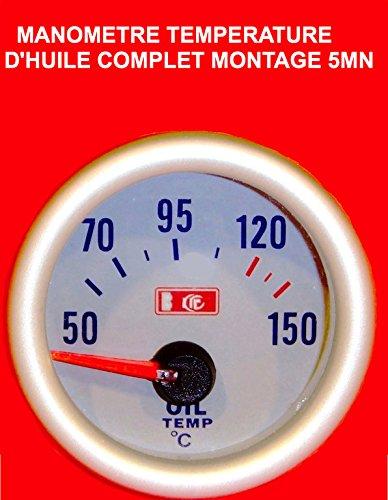 Superbe manómetro Temperature aceite fondo color blanco a Eclairage. Raid Preparation 4x 4