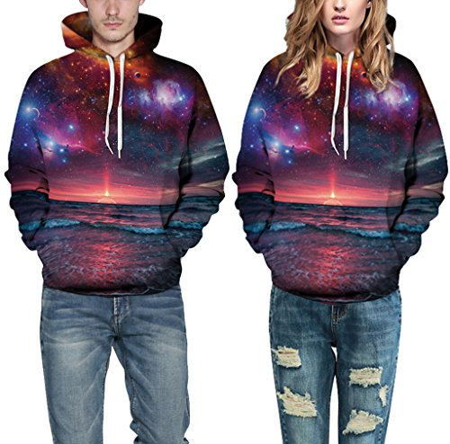Pretty321 Women Girl Seaside Sunrise Galaxy Hoodie Sweatshirt with Pocket Unisex Amazon