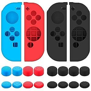 Senhai Schutzhülle für Nintendo Switch Joy-Con Controller mit Thumb Caps, 2 Pack Anti-Rutsch Silikon Griffe mit 16 Thumb Stick Pads – Schwarz, Blau + Rot