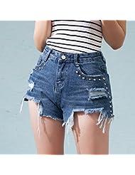 YFF Taille haute jeans bleu flash irrégulières short femme Short de la personnalité des élèves,S