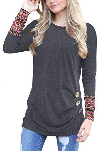 Mädchen Damen Shirt (Lylafairy Bluse 164 Mädchen, Damen Langarm Oberteile Herbst Sweatshirt Rundhals Elegant Casual T-Shirt Tops mit Zierknöpfe (02, 40))