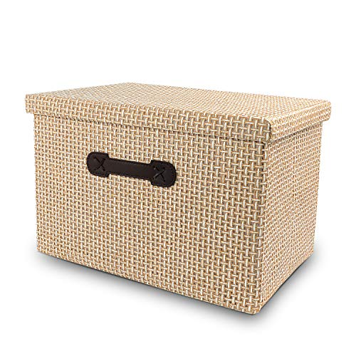 Cezanne Linen Fabric Folding Storage Boxes with lids Container Storage Bins Baskets Box Organizer with Handle