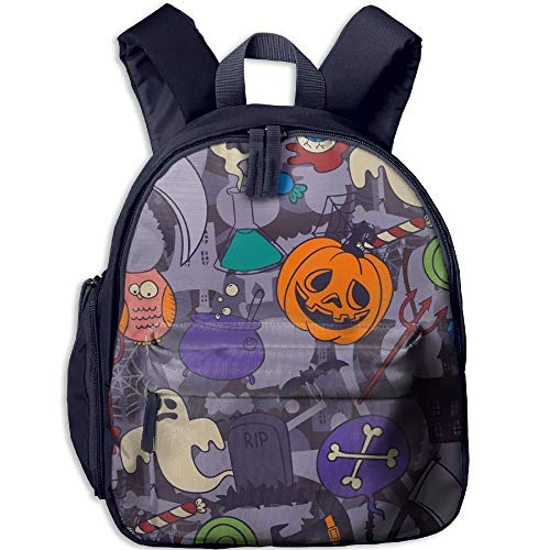 Crazy Halloween Holiday Double Zipper Waterproof Children Schoolbag with Front Pockets for Kids Boy Girl (Halloween Swat Girl)