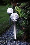 Lot de 2(= 2pièces) éclairages solaires décoratifs pour allées à LED de qualité - Lampadaire/Lampe de jardin/en métal argenté et une boule d'éclairage décorative - Acrylique-Plus 28cm x 8cm -avec 1LED-Avec panneau solaire-Déjà inclus: Batterie intégrée- Panneau solaire - Énergie - Avec piquet- Convient pour l'extérieur - LED à couleur ambre et lumière blanche au choix - Boutique Kamaca, Plastique, warm white light, 28,5 x 8 cm
