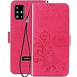 FANFO® Hülle für Samsung Galaxy A51, [3D Glückliche Blumen] Leder Flip Brieftasche Case mit TPU-Innenschale, Magnetverschluss, Kartenfächern, Geldbeutel und Ständer, Rot