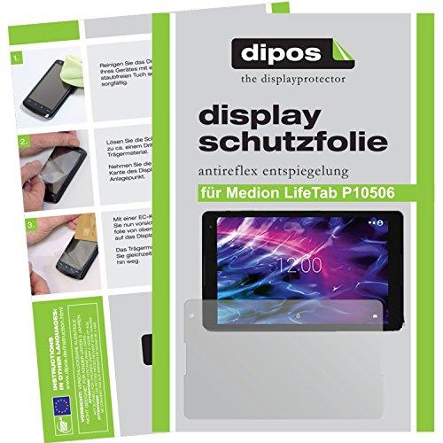 dipos I 2X Schutzfolie matt passend für Medion LifeTab P10506 Folie Bildschirmschutzfolie