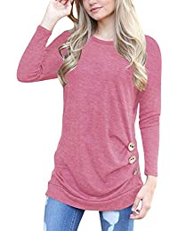 c53b657367d599 H HIAMIGOS Women Casual Long Sleeve Buttons Decor Crew Neck Tunic Shirts  Loose Blouse Tops