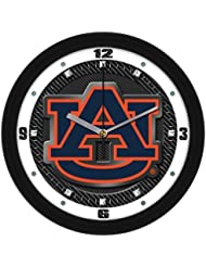 "Auburn Tigers 'AU"" Logo on Carbon Fiber Textured Background 12"" Wall Clock by Suntime"