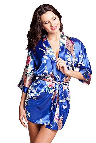 Noble robe kimono dressing de tailles de satin S-XXL VA8/Bleu