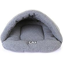 UEETEK Cueva para Perros Gatos Mascotas Cama Gato Invierno Casa Cama Perro Lavable Suave Cálido Gris