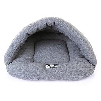 UEETEK Soft Warm Dog Cat Cave Bed House Cushion Cotton Plush Pet Sleeping Bag Grey 14