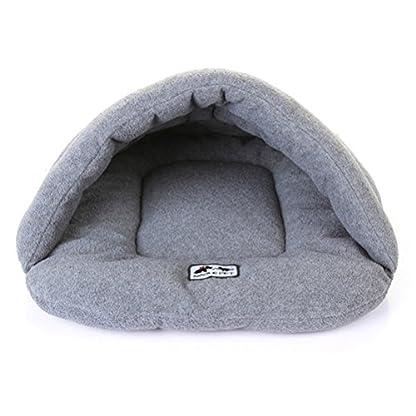 UEETEK Soft Warm Dog Cat Cave Bed House Cushion Cotton Plush Pet Sleeping Bag Grey 1