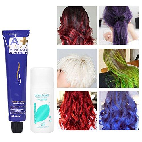 6 colori 100ml / bottiglia Crema Colorante naturale moda styling tinture per colore capelli crema con doppio latte di ossigeno unisex (Viola melanzana)
