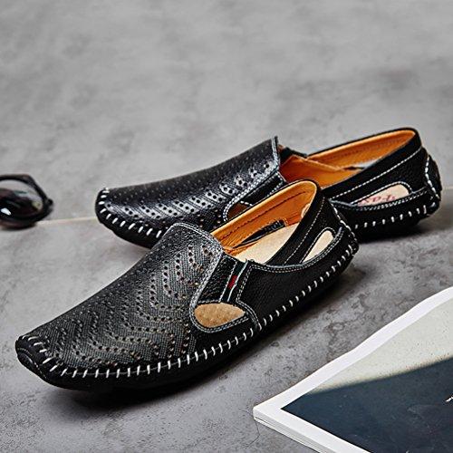 YiLianDa Herren Mokassin Slippers Leder Loafers Fahren Halbschuhe Schwarz