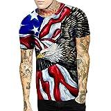 Xmiral Moda Stampa 3D T-Shirt a Maniche Corte - Canotta Uomo Bodybuilding Tank Muscolo Maglietta Estate Casuale Fitness Top Camicia da Uomo Elegante Giorno dell'indipendenza XXXXXL Nero