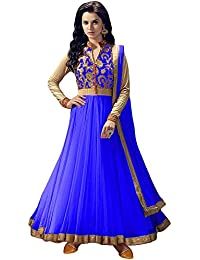 Rensila Women's Royal Blue & Beige Color Banglori Silk & Net Fabric Anarkali Salwar Suit