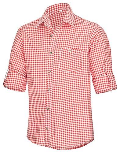 TR Martha Trachtenhemd für Trachten Lederhosen Freizeit Hemd Rot,Balu,Grun-Kariert Gr. S-XXXL Rot