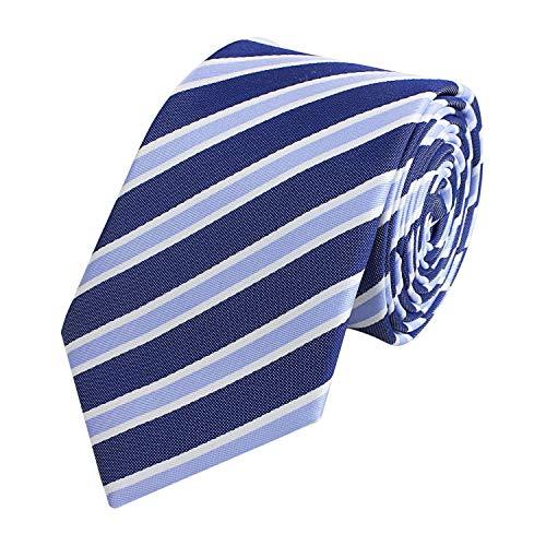 Fabio Farini Étroit Cravate de à rayures en bleu blanc