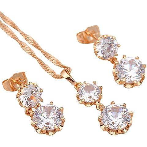 Bling fashion Luxury Wedding gifts18K giallo placcato oro collana e orecchini cristallo bianco AAA zirconi set di gioielli