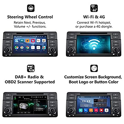 eonon-GA9350-Autoradio-mit-Android-9-fit-BMW-E46-1999-2004-2GB-RAM-32GB-ROM-Quad-Core-Indash-178-cm-7-Zoll-HD-Touchscreen-DVD-GPS-Bluetooth-Kopfeinheit-untersttzt-Lenkradsteuerung-4G-WiFi-DAB