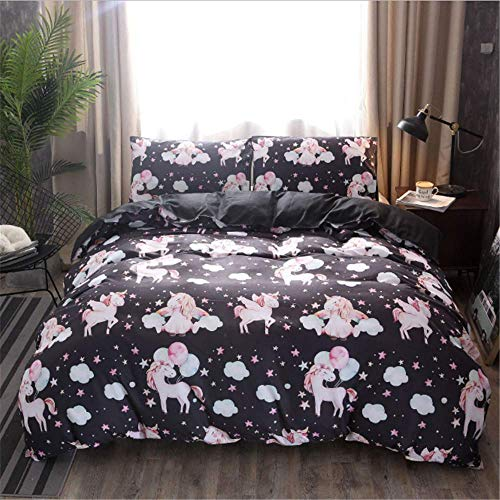 SHJIA Doppel Bettbezug Set Bettwäsche Voll Für Mädchen Mädchen Twin Bettwäsche Sets Bettlaken B 228x228cm (Zebra-rosa-bettwäsche-voll)