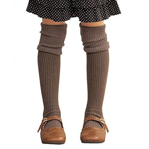 Hpory Kinder Mädchen Herbst Winter Baumwolle Häkeln Stricken Warm Knie hohen Socken Skin-friendly Elastische Beinlinge Stiefel Socken für 4-13 Jahre Alte Kinder