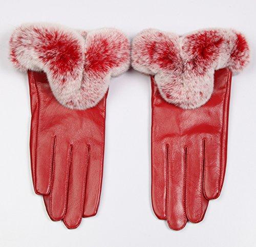 Gants en cuir de mouton gants en cuir de peau Rex ronce toucher des gants de cuir gants chauds pour l'hiver