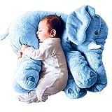 VineCrown weich Plüsch Elefant Kissen Baby Plüschtiere Schlafkissen Kinder Lendenkissen Spielzeug Geschenke Haus Dekoration (23.6inches, Blau)
