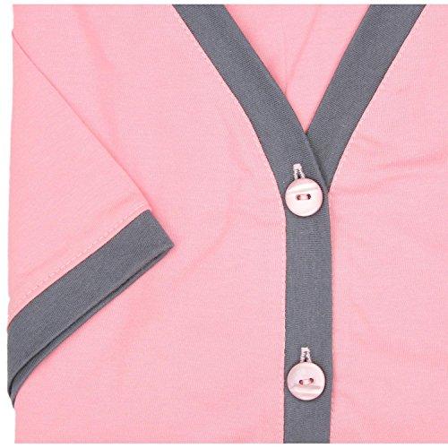 Alkato Damen Kurzarm Stillnachthemd V-Ausschnitt Knopfleiste Lachs / Graphit