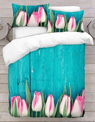 Adam Home 3D Digital Printing Bett Leinen Bettwäsche-Set Bettbezug + 2X Kissenbezug - Tree Tulip on Turquis Background (Alle Größen) Digitale Tulip