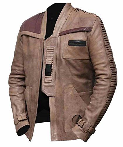 Classyak - Cazadora de cuero auténtico para hombre Beige Beige Unwaxed  XXL-Para Pecho 116 02a8d62a956