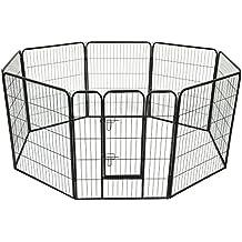 Parque Mascotas 8 Vallas 80x100 cm Entrenamiento Cachorros con Puerta