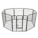 Luxe parc enclos modulable acier 8 panneaux et 1 porte pour chiens 80L x 100H cm noir neuf 04