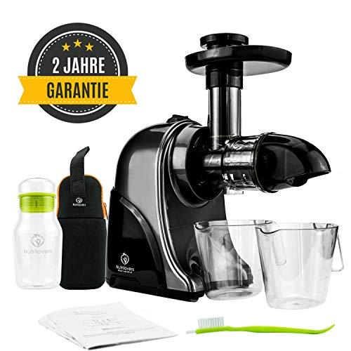 GREEN-PRESS Horizontaler Slow Juicer 60 U/min BPA-frei | Elektrischer Entsafter Gemüse und Obst | Ideal für Sellerie, Kräuter, Weizengras, Grünes Detox Säfte | Trinkflasche + Saft Rezepte