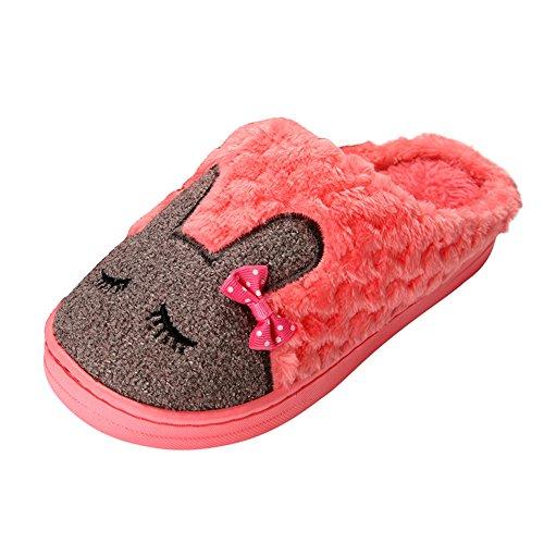 Ciabatte Peluche Donykarry Da Donna, Calde Pantofole Morbide Con Motivo Di Coniglio Rosso Cartone Animato