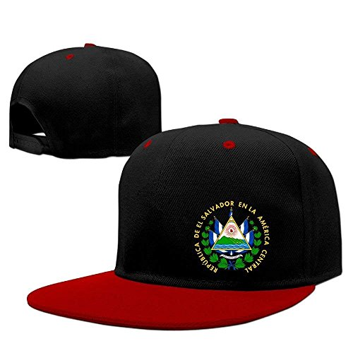 FGHJKL EL Salvador Coat of Arms Adjustable Contrast Color Hiphop Snapback Hat Hats One Size -