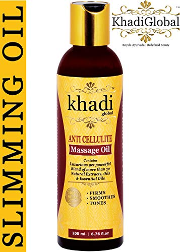 Khadi Global Anti Cellulite Slimming Massage Oil 200 ml With 31+ Powerful Natural Blend of Herbs, Extracts, Oils & Essential Oils With Cinnamon, Jaiphal, Black Pepper, Amarnath, Saunf and Juniper Oil
