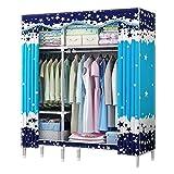 NZ-Wardrobe Hängender Kleidung-Organisator für Schlafzimmer-Wandschrank, verdicktes Oxford-Tuch-Stahlrohr 1 Personen-Kleiderkammer-beweglicher Kleiderschrank-Tuch-Garderoben-Abschluss