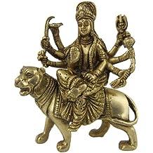 Dimensione arte di dea indù Durga ottone metallo scultura: 10.8 x 12.7 x 3,81 cm