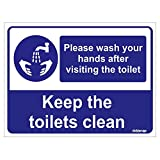 #3: Clickforsign PLEA-WAS-HAND-VISIT-TOI-VINYL-64(8X6) Please Wash Your Hands After Visiting The Toilet Sign Self Adhesive Vinyl Sticker, 200 x 150 mm