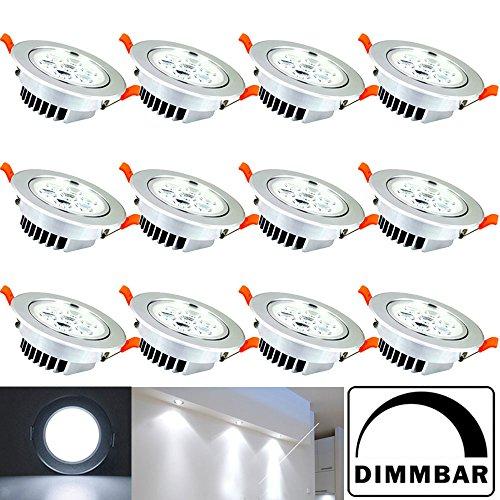 Hengda® 12 Stücke 7W LED Einbauleuchte Bad-Beleuchtung Badezimmer Einbauleuchten Dimmbar High Quality Möbelleuchte Rund Design Einbaulampen set