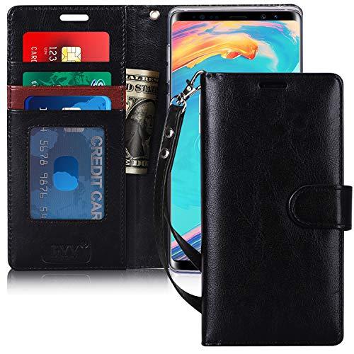 FYY Note 9 Funda, Funda Note 9, [Wallet Función] Hecho a Mano de Cuero PU Cartera con la Ranura para Tarjetas y Kickstand Función para Samsung Galaxy Note 9 (2018) Negro