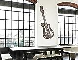 I-love-Wandtattoo WAS-11187 Wohnraum Musik Wandsticker ''Gitarre im Retro Design'' Musikbild zum Kleben Wohnzimmer Musik Lounge Wandtattoo Musiknoten Wandaufkleber Vintage Musikmotiv Musikinstrument Sticker Aufkleber XXL