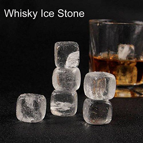 Whisky Steine, wiederverwendbare Eiswürfel Kristall Whiskey Chillen Steine Wein Bier Scotch auf den Felsen Getränkekühler, 6er Pack