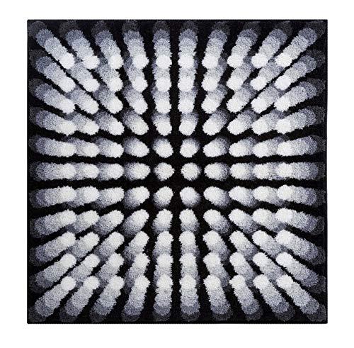 Grund KARIM RASHID Exklusiver Designer Badteppich 100% Polyacryl, ultra soft, rutschfest, ÖKO-TEX-zertifiziert, 5 Jahre Garantie, KARIM 07, Badematte 90x90 cm, grau