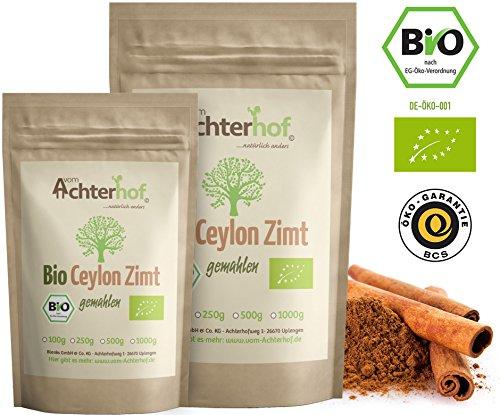 Bio Ceylon Zimt gemahlen (250g) mit wenig Cumarin in premium Qualität | 100% ECHTES Bio Ceylon Zimt Pulver