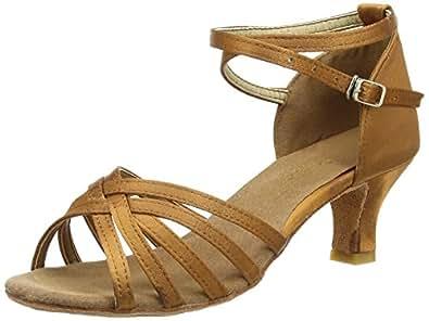 Amurleopard Damen Latein Schuhe 5cm Absatz Dunkelbraun 35(Herstellergröße:36)