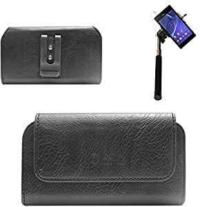 DMG Premium PU Leather Cell Phone Pouch Carrying Case with Belt Clip Holster for INFOCUS M2 (Black) + Selfie Stick Monopod with Aux (No Battery Needed)